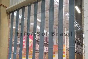Cortinas de PVC Mista duas cores cinza e cristal standard transparente